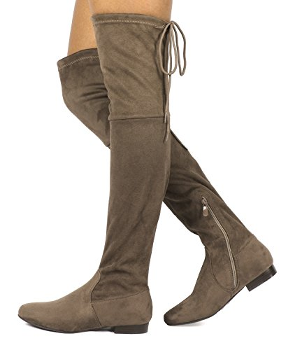 Boots Casual Khaki Pull PAIRS Fashion DREAM p Over Knee The Slouchy Womens on aqtfwxwOv