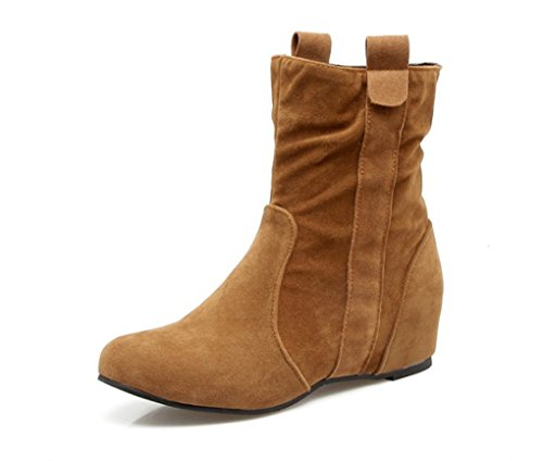 Autumn and Winter Martin Boots Round Head Short Boots Low-Heeled Duantong Turmeric 47zUmG0yH