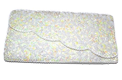 La Handbag Beaded Regale (Anticuria Nice Vintage La Regale Ltd. Beaded Opalescent Sequin Handbag Purse Clutch)