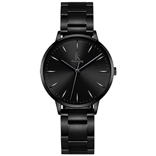 Bestn Women Quartz Wrist Watch Black Stainless Steel Analogue Quartz Lady Dress Watch ()