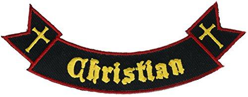 Christian Script Rocker Twin Cross Iron or Sew on Patch PWTWINCROSS