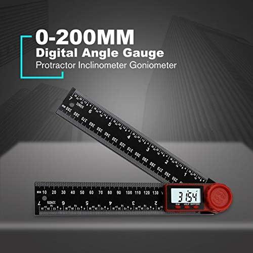 """2 en 1 200 mm 8/"""" 360 Degré Digital angle rule Ruler Jauge Rapporteur Goniomètre"""