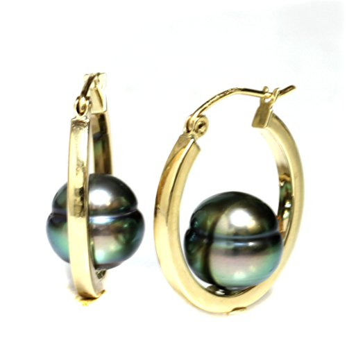 Round Sea South Green Pearl (14k Yellow Gold Tahitian South Sea Pearl Dangle Hoop earrings - AAA and AAA Flawless (AAA Green Overtone))