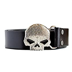 Men's Skull Buckle Italian Leather Belt with Rhinestones