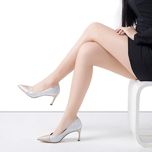 comode Mid Classic Office Heels party Womens party Tacchi Casual alti prom party Kitten Sparkle Fit wedding ZZZJR Work Nero Low Work Heel Colorblock evening Evening Platform Ladies Scarpe W86Exw7xqa