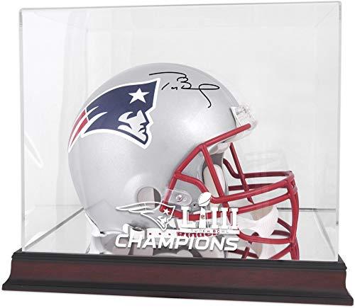 Tom Brady New England Patriots Autographed Riddell Pro-Line Helmet with Mahogany Base Super Bowl LIII Champions Helmet Display Case - TRISTAR - Fanatics Authentic -