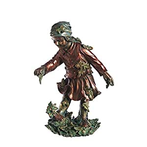 New Creative Walking in Leaves Child Outdoor Safe Statuary