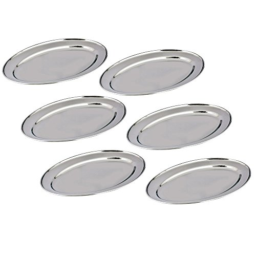 Pan Oval Fry Dishwasher Safe (Kosma Set of 6 Stainless Steel Oval Platters, Size 30cm – Designer Serving Trays | Rice Plate | Serving Dish | Set of 6 Large Serving Platters for Parties and Events)