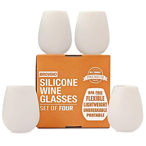 Silicone Wine Glasses - Set of 4 - Unbreakable Outdoor Rubber Wine Cups: 14 oz, Clear Silicone. 100%...
