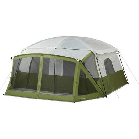 12-Person-Cabin-Tent-with-Screen-Porch-with-Multiple-Storage-Pockets-Green