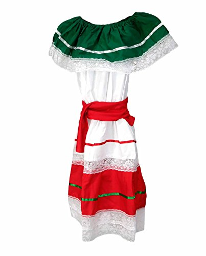 Largemouth Girl's Traditional Cinco de Mayo Dress Costume, White (Child (Mexican Girl Costume)