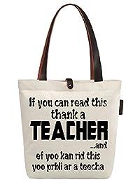 So'each Women's Awesome Teacher Gift Top Handle Canvas Tote Shoulder Shopper Bag (HB-OL-15)