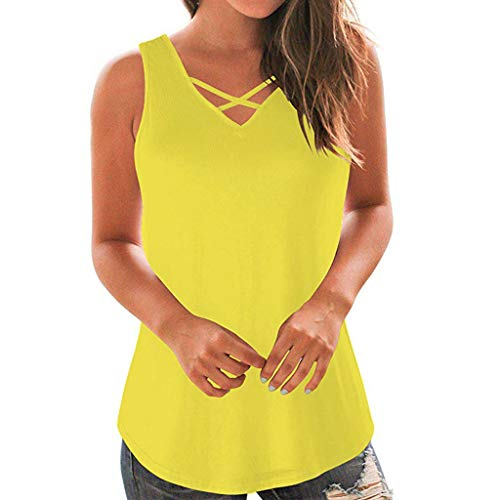 DondPO Womens Criss Cross Tops Short Sleeve T Shirt Casual Tank Tops Basic Shirts Plus Size V Neck Flowy Blouse Summer Yellow