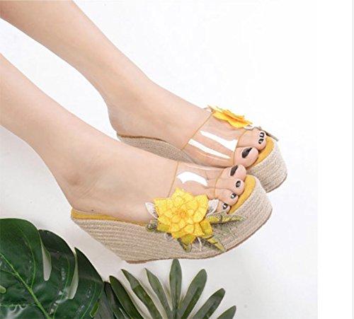 AWXJX 10cm grueso Amarillo mujer Pendiente exterior antideslizante Chanclas Flores impermeable para inferior rwqPrg
