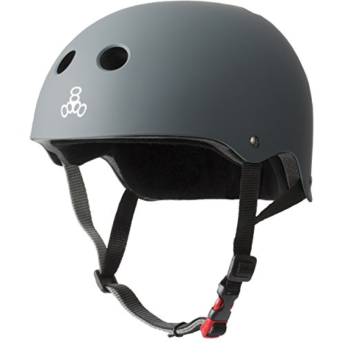 Triple Eight THE Certified Sweatsaver Helmet for Skateboarding, BMX, and Roller Skating, Carbon Rubber, Large / X-Large