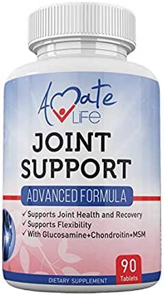Joint Support Advanced Formula with Glucosamine and Chondroitin Dietary Supplements Joint Pain Support Natural Ingredients for Men and Women 90 Tablets Non-GMO by Amate Life
