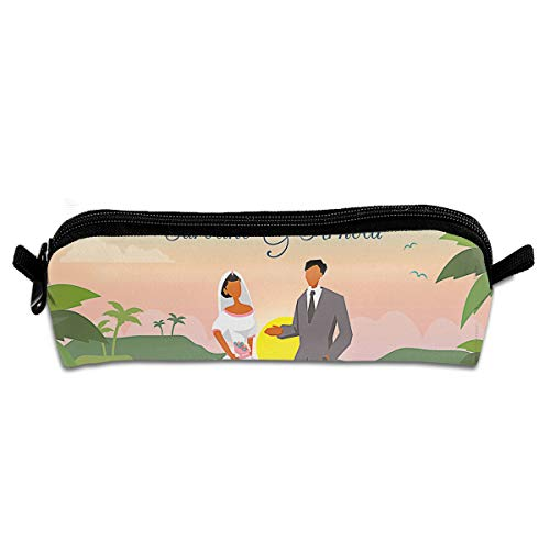 OLGCZM Beach Wedding Save The Date Pencil Case,Pen Bag for Pens, Pencils, Highlighters, Gel Pen, Markers and Other School Supplies