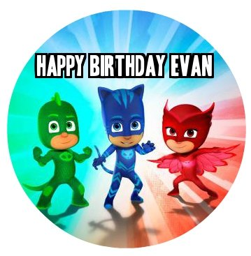 PJ MASKS Cupcakes Image Photo Cake Topper Sheet Personalized Custom Customized Birthday Party - 12 CUPCAKES