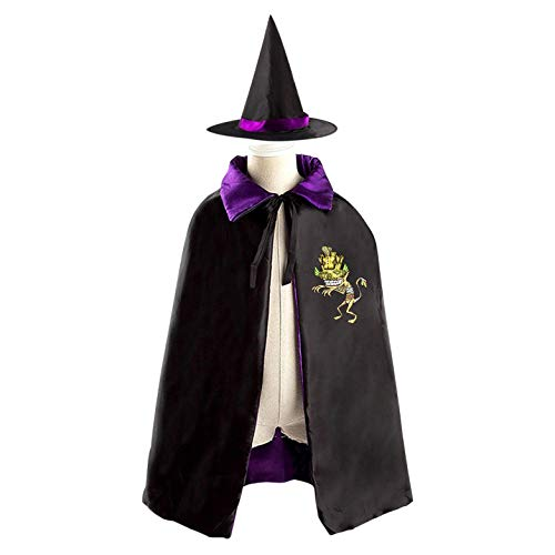 69PF-1 Halloween Cape Matching Witch Hat Frightening Zombie Wizard Cloak Masquerade Cosplay Custume Robe Kids/Boy/Girl Gift Purple