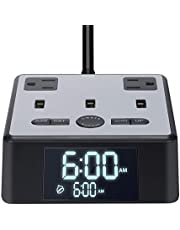 Led Light Wake Up Alarm Dual USB Clock Charger Desk Lifetime Day AM PM Digital Clock Charger Power Strip Surge Protector 3.2A Fast Charging Station 3 USB Ports & 2 AC Adapters, Adjustable Screen Brightness, Snooze Function &Three-in-One USB Charging Cable for iPhone iPad Samsung Computer Table Laptop Bedroom Kid Heavy Sleepers Home House Office Travel Hotel Festival Gifts School College Affiliates Christmas Birthday Gift (Silver)