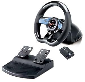 Genius Wireless Trio Racer - Volante/mando (Ruedas + Pedales, PC, Playstation 2, Playstation 3, D-pad, Turbo, Inalámbrico, USB 2.0, 2.4 GHz) Negro, Plata