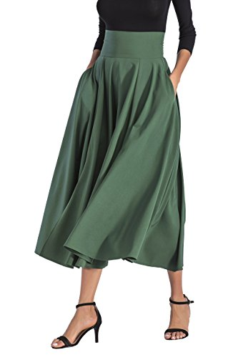CoutureBridal Women A-Line Front Slit Swing Ankle Length Maxi Skirt With Pockets Green
