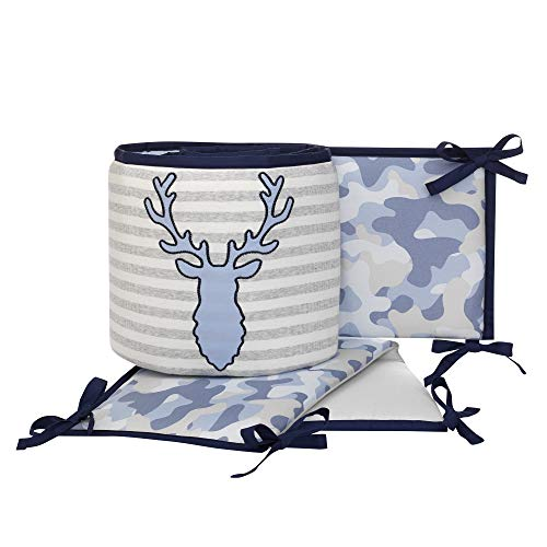 (Lambs & Ivy Blue Camo Gray Moose 4-Piece Baby Crib Bumper Pads - Camouflage)