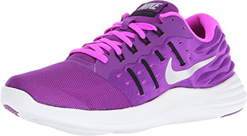 Nike Women's Lunarstelos Running Shoe Bright Grape/Metallic Silver/Fire Pink Size 7 M - Womens Shoe Fire Road