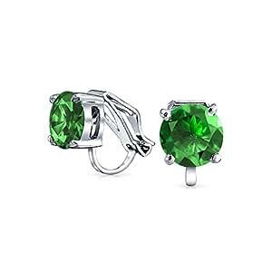 Bling Jewelry Aretes Dormilonas Stud Redondos Color Verde Esmeralda 8mm