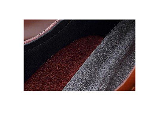 Colore Sandali Stivali Nastro Sportivi A in Casual Punta Scarpe Brown Tondo Uomo Pelle Stagione Affari Morbido Tela qOSPfpwO