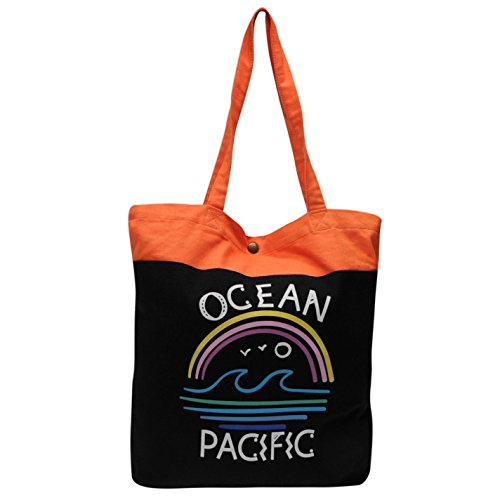 Ocean Pacific Wave stampa borsa da donna nero/corallo da donna shopper borsa, Black/Coral