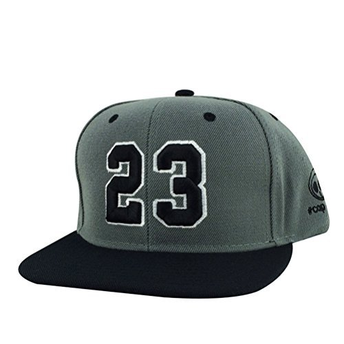 Caprobot Custom Embroidered Hat Player Jersey Number #23 Snapback Cap charcoal Black Visor]()
