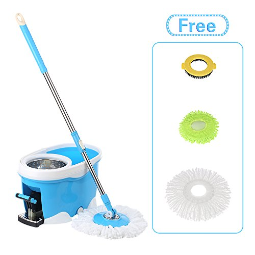 IKAYAA 360° Rolling Spinning Mop Bucket Cleaning System with Foot Pedal EasyWring Floor Mop + 2 Microfiber Mop Head + Scrub Brush + Chenille Mop Head