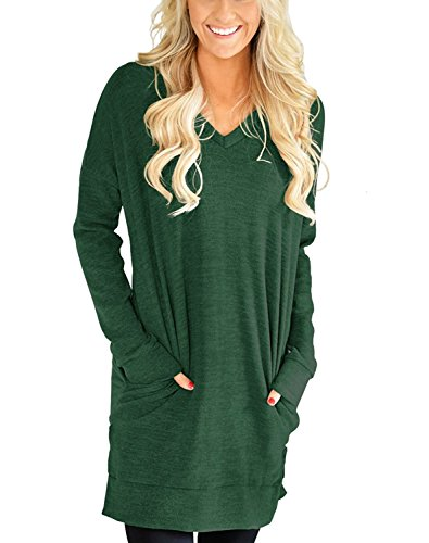 (Roshop Boho Women's Long Sleeve Tunic Pullover Shirts with Two Side Pockets(Green, Medium))