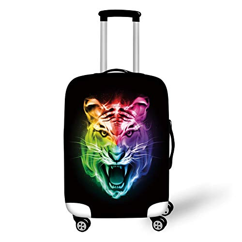 Travel Luggage Cover Suitcase Protector,Tiger,Multicolored Abstract Rendition Large Feline Blazing Spectrum of Fire Rainbow Color,Multicolor,for TravelM 23.6x31.8Inch