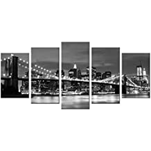 Wieco Art - Brooklyn Bridge Night View 5 Panels Modern Landscape Artwork Canvas Prints Abstract Pictures Sensation to Photo Paintings on Canvas Wall Art for Home Decorations Wall Decor
