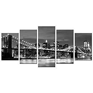 Wieco Art Brooklyn Bridge Night View 5 Panels Modern Landscape Artwork Canvas Prints Abstract Pictures Sensation to…