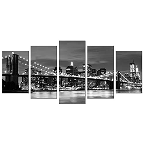 Wieco Art   Broooklyn Bridge Night View 5 Panels Modern Landscape Artwork  Canvas Prints Abstract Pictures Sensation To Photo Paintings On Canvas Wall  Art ...