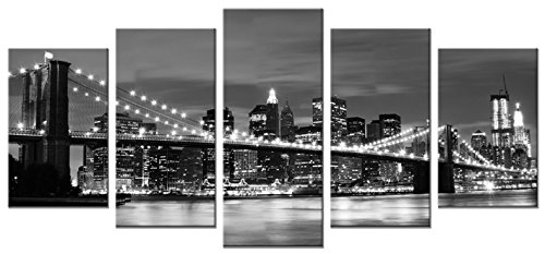 Wieco Art Broooklyn Bridge Night View 5 Panels Modern Landscape Artwork Canvas Prints Abstract Pictures on Canvas Wall Art for Home Decorations Wall Decor