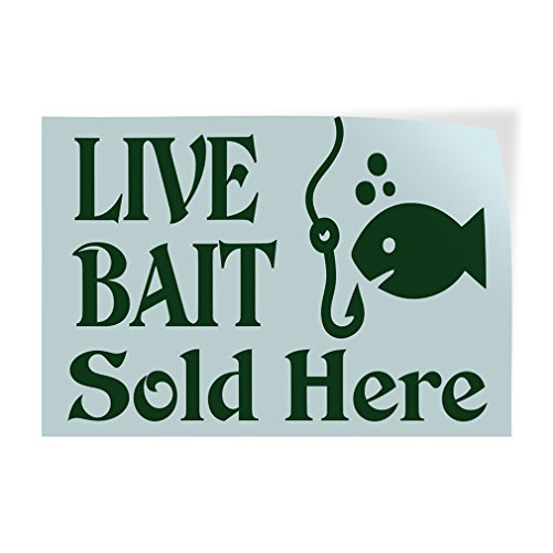Decal Sticker Multiple Sizes Live Bait Sold Here #1 Retail entrap Outdoor Store Sign Green - 7inx5in, One Sticker