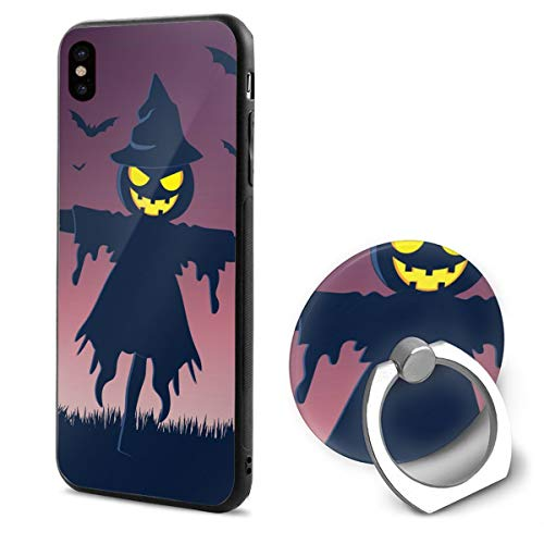 iPhone X Case Halloweeen Scarecrow with Ring Holder 360 Degree Rotating Stand Grip Mounts Slim Soft Protective Cover]()