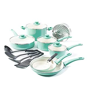 GreenLife Soft Grip Healthy Ceramic Nonstick, Cookware Pots and Pans Set, 16 Piece, Turquoise