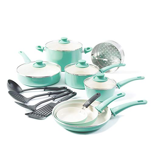 (GreenLife Soft Grip 16pc Ceramic Non-Stick Cookware Set, Turquoise)