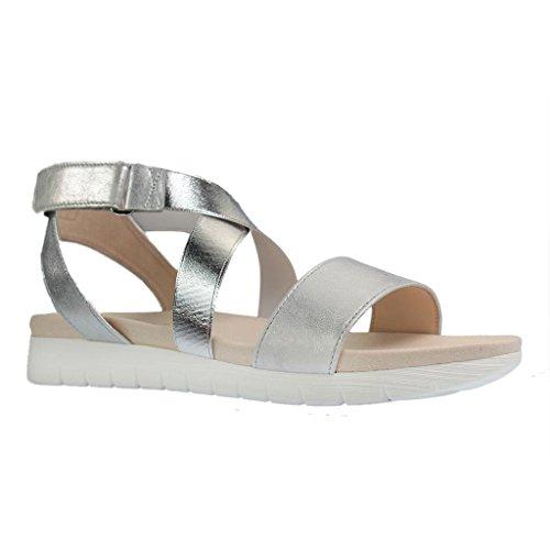 Gabor - Sandalias de vestir para mujer gris metálico