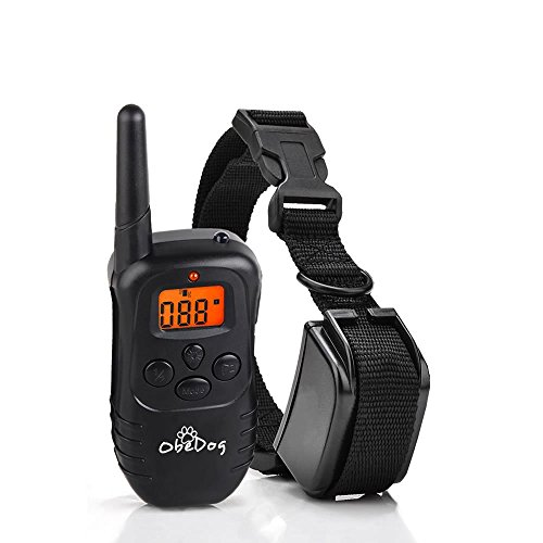 ObeDog-330-Yards-Stride-Series-Rechargeable-Weatherproof-Dog-Training-Collar-with-Amber-LCD-Remote-Vibration-Static-Shock-Tone-Training-Stimulations-for-All-Dogs