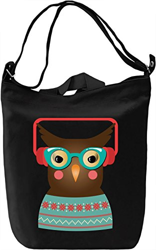 Hipster owl Borsa Giornaliera Canvas Canvas Day Bag| 100% Premium Cotton Canvas| DTG Printing|