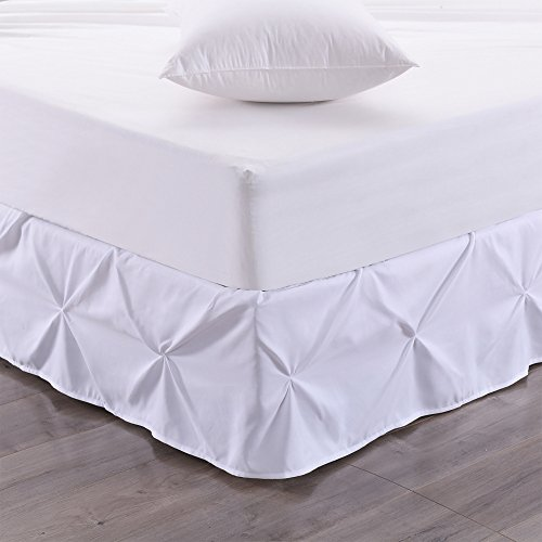 1 Piece White Luxury Pintuck Pattern 14-Inch Drop Bedskirt Full Size, Elegant Pinch Pleat Bed Valance, Pin-Tuck Geometric Textured Design Bed Skirt, Casual Style, Solid Color, Soft Durable (Pinch Pleat Skirt)