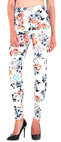Floral Print Leggings - Jescakoo Lady's Retro Floral Print Colored Leggings Pants for Fall Winter White L