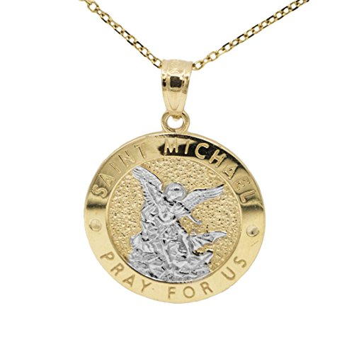 10k two tone yellow and white gold archangel saint michael religious 10k two tone yellow and white gold archangel saint michael religious medal necklace 20 mozeypictures Image collections