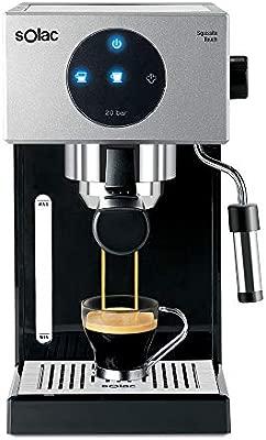 Solac CE4552 Squissita Touch - Cafetera espresso, 1.5 l, 1000 W, portafiltros para 1 o 2 cafés, táctil, auto-parada, auto-off, double cream, ...